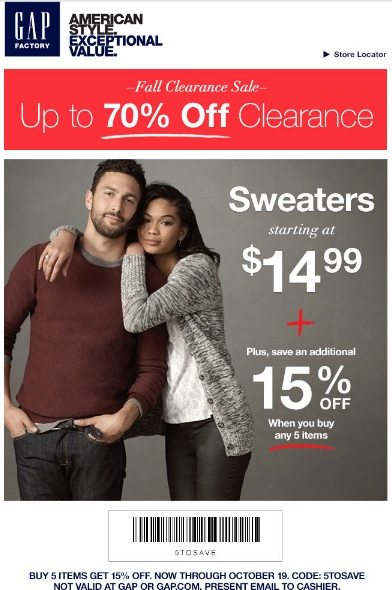 Coupon for: Gap Factory stores, Clearance SALE ...