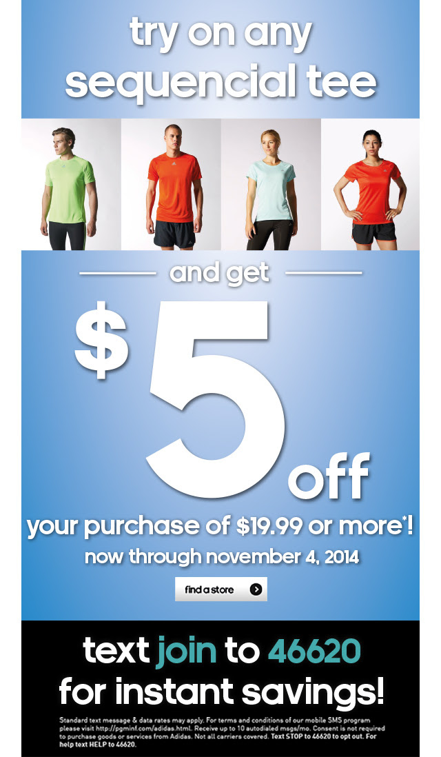 Coupon for: adidas outlet stores, want $5?
