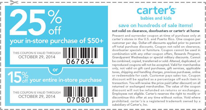 Coupon for: carter's, discount coupon ...