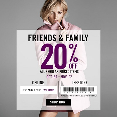 Coupon for: Forever 21, Friends & Family Event