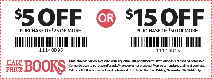 Coupon for: Half Price Books, Black Friday 2014 coupon