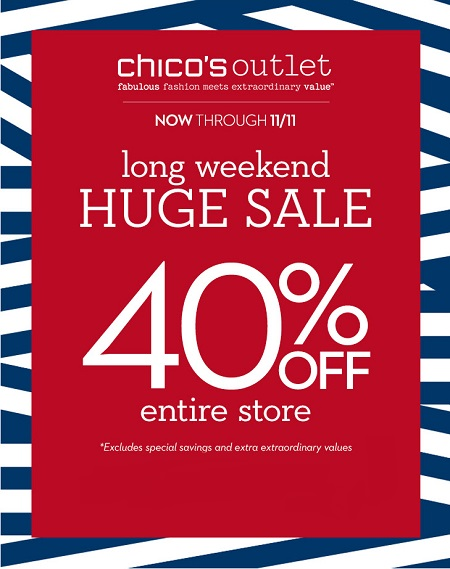 Coupon for: Chico's Outlets, long weekend of ...