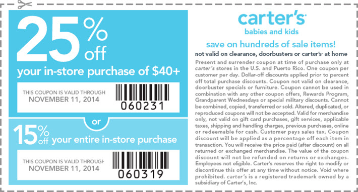 Coupon for: carter's, Veterands Day SALE ...