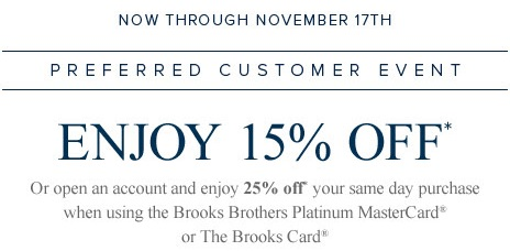Coupon for: Brooks Brothers, Preferred Customer Event ...