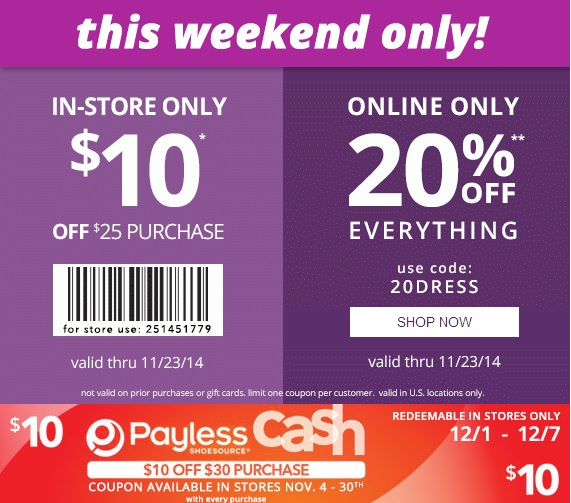 Coupon for: Payless ShoeSource, Last weekend before Black Friday 2014 ...