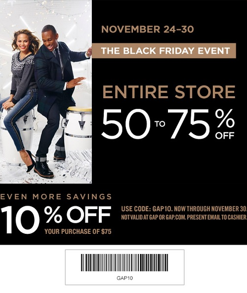 Coupon for: Gap Factory, The Black Friday 2014 Event ...