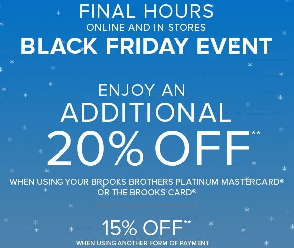 Coupon for: Brooks Brothers, Final Hours of Black ...