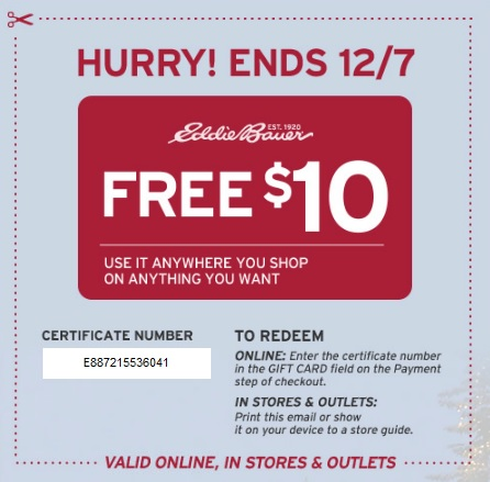 Coupon for: Eddie Bauer, Special gift for you ...