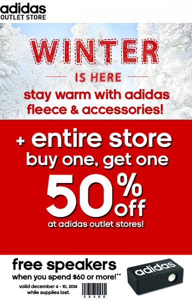Coupon for: adidas Outlet Stores, Winter is here ...