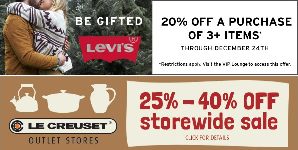 Coupon for: Premium Outlets, Levi's 20% off + Le Creuset ...