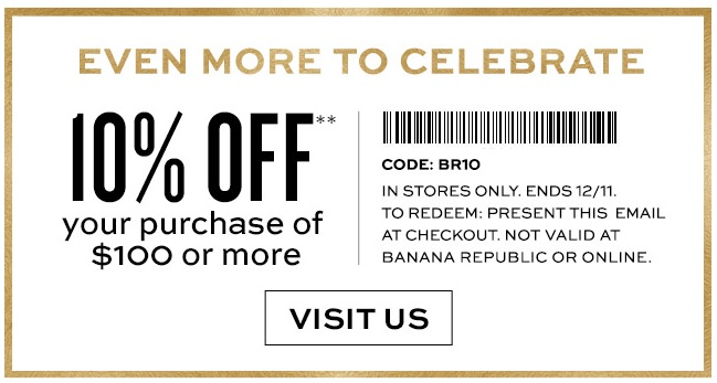 Coupon for: Banana Republic Factory Store, Savings up to 70% off ...