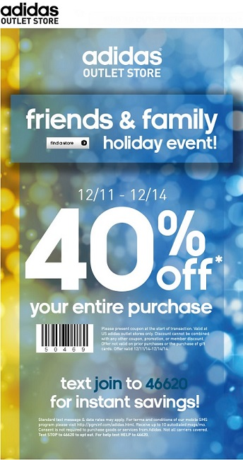 addidas outlet coupon jo7m  Coupon for: adidas outlet stores, Friends & Family Event