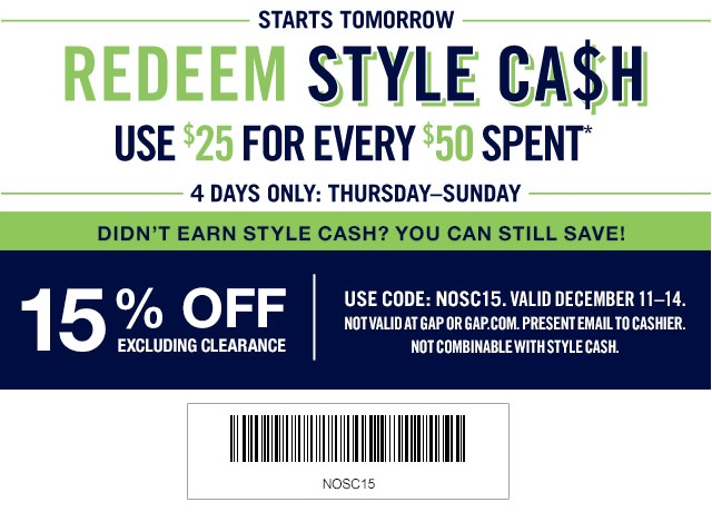Coupon for: Gap Factory, Redeem Style Cash ...
