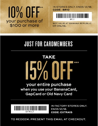 Coupon for: Banana Republic Factory Stores, Get gifting ....