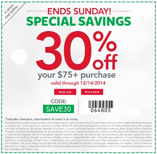 Coupon for: carter's, special savings ...