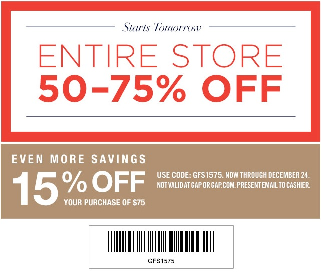 Coupon for: Gap Factory Stores, Entire store up to 75%