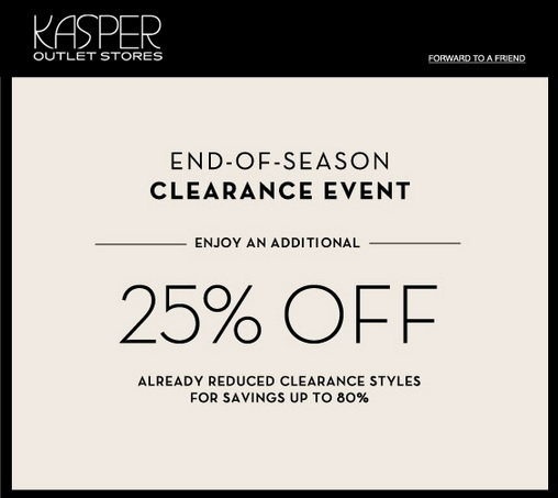 Coupon for: Kasper Outlet Stores, End of season SALE ...