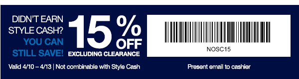 Coupon for: GAP, Redeem your style cash
