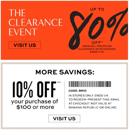 Coupon for: Banana Republic Factory Store, The Clearance Event