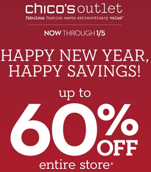Coupon for: Chico's Outlets, Happy New Savings