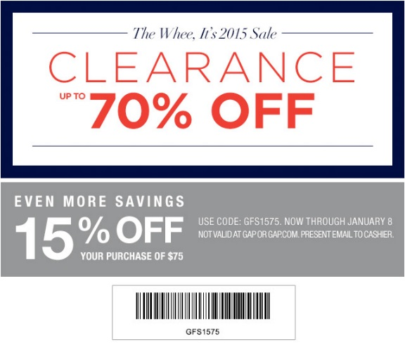 Coupon for: Gap Factory, It's 2015 SALE