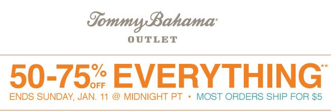 Coupon for: Tommy Bahama, up to 75% off everything