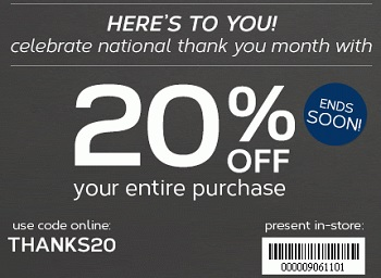 Coupon for: Jockey, celebrate national thank you month with 20% off