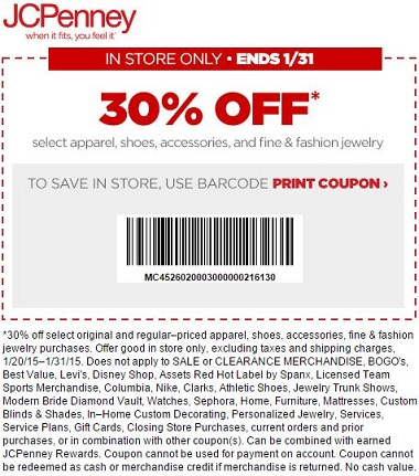 Coupon for: JCPenney, SALE coupon - 30% off
