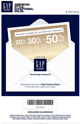 Coupon for: U.S. Gap Factory Stores, Surprise savings for favorite customers