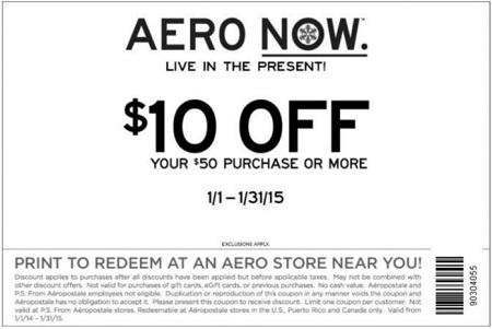 Coupon for: Aéropostale, $10 off your purchase
