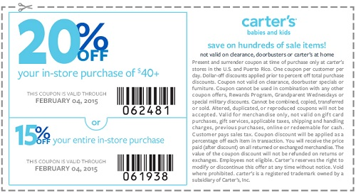 Coupon for: carter's, 40% off everything + extra savings