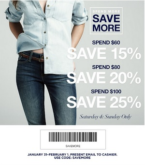 Coupon for: Gap Factory, spend more, save more