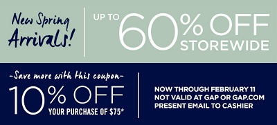 Coupon for: Gap Factory, New arrivals up to 60% off