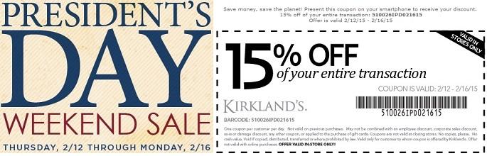Coupon for: Kirkland's, President's Day Savings