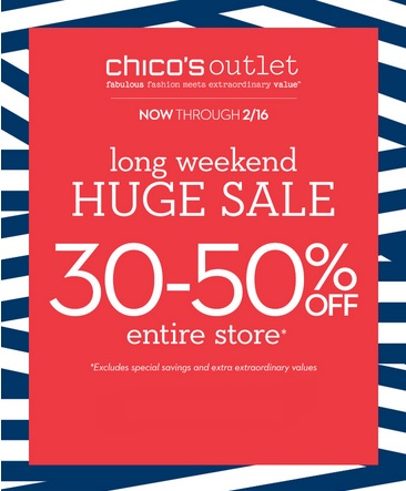 Coupon for: Chico's Outlets, President's Day & Valentine's day SALE