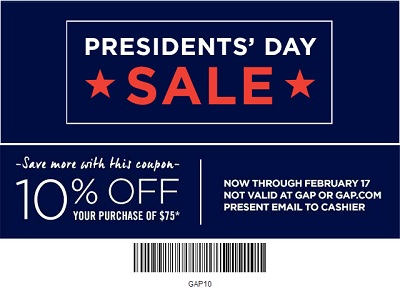 Coupon for: Gap Factory Stores, President's Day Sale