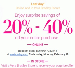 Coupon for: Vera Bradley, Last day of great offer
