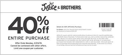 Coupon for: Justice & Brothers, Sale coupon