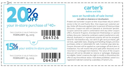 Coupon for: carter's, save with coupon