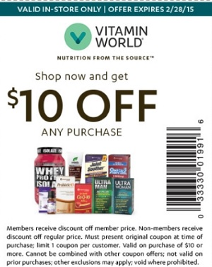 Coupon for: Vitamin World, Shop and get $10 off