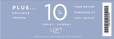 Coupon for: LOFT outlet stores, Sale coupon