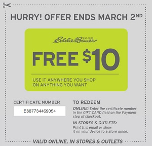 Coupon for: Eddie Bauer, Free $10