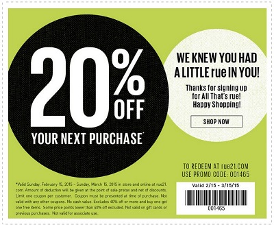 Coupon for: Rue 21, receive discount on your purchase