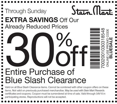 Coupon for: Stein Mart, extra savings