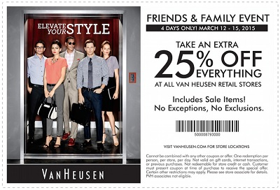 Coupon for: Van Heusen, Friends & Family Event