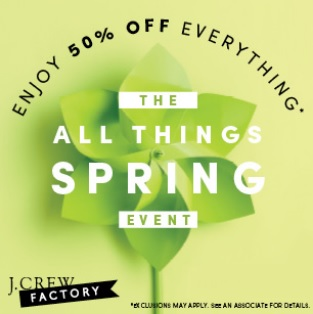 Coupon for: J. Crew Factory, Premium Outlets, Spring Sale