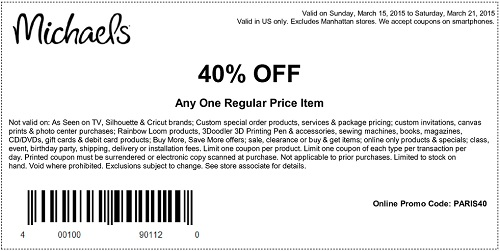 Coupon for: Michaels, Save on one regular-priced item