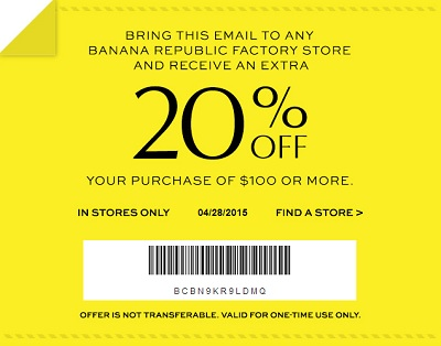 Coupon for: Banana Republic Factory Stores, Save with printable coupon