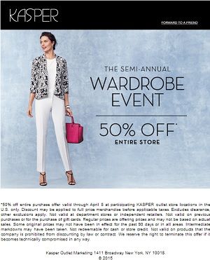 Coupon for: Kasper Outlet Stores, Semi-Annual Wardrobe Event