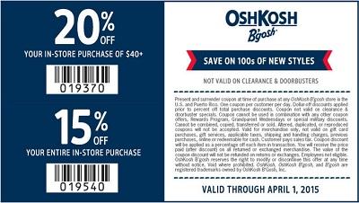 Coupon for: OshKosh B'gosh, Save with Sale coupon